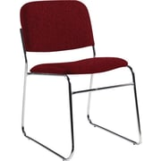Global Custom Chrome Stack Chair, Burgundy, Premium Grade
