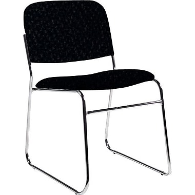 Global Custom Chrome Stack Chair, Ebony, Premium Grade