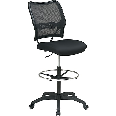 Office Star Space Seating Ergonomic AirGrid Mesh Drafting Stool, Armless, Black