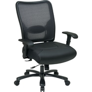Office Star SPACE® Big and Tall Air-Grid™ Mesh Back Task Chair with Leather Seat, Black