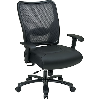 Office Star™ SPACE® Big and Tall Air-Grid Mesh Back Task Chair with Leather Seat, Black