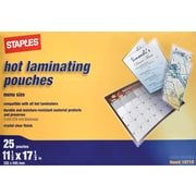 Staples Menu Size Thermal Laminating Pouches, 3 mil, 25 pack