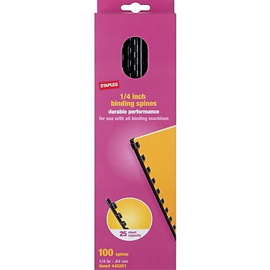 Staples Plastic Comb Binding Spines, 1/4in. Diameter, 20 Sheets, 100 Pack, Black
