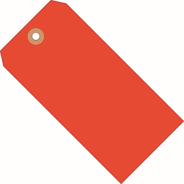 Staples Fluorescent Red Shipping Tags, #5, 4-3/4in. x 2-3/8in.