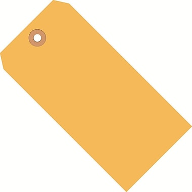 Staples Fluorescent Orange Shipping Tags, #5, 4-3/4in. x 2-3/8in.