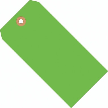 Staples Fluorescent Green Shipping Tags, #5, 4-3/4in. x 2-3/8in., 1000/Case