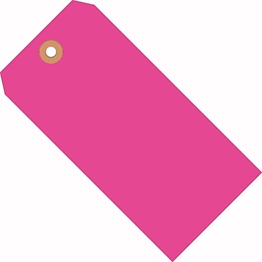 Staples Fluorescent Pink Shipping Tags, #8, 6-1/4in. x 3-1/8in.