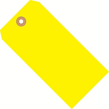 Staples Fluorescent Yellow Shipping Tags, #5, 4-3/4in. x 2-3/8in.