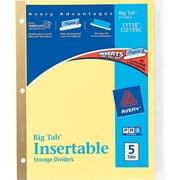 Avery(R) Big Tab(TM) Insertable Dividers 11110, 5-Tab Set