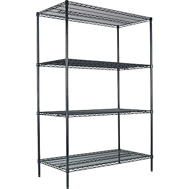 Alera Industrial Wire Shelving, 4 Shelves, Black, 72
