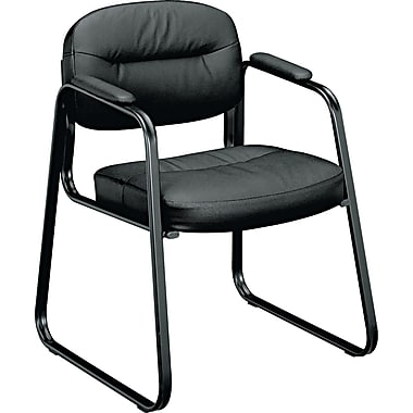basyx by HON VL653 Leather Executive Guest Side Chair, Black