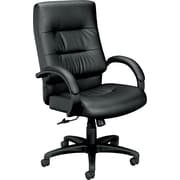 basyx by HON® BSXVL691SP11 VL691 Leather Executive High-Back Chair with Fixed Arms, Black