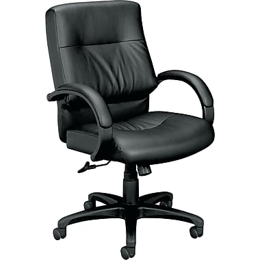 basyx by HON VL692 Leather Executive Mid-Back Chair, Black