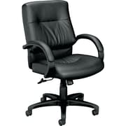 basyx™ by HON VL692 Leather Executive Mid-Back Chair, Black