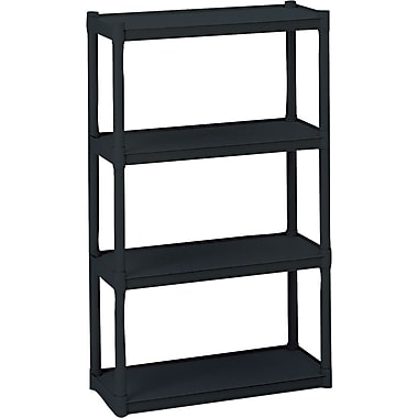 Iceberg Rough n Ready Plastic Shelving, 4 Shelves, Black, 54in.H X 32in.W X 13in.D