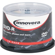 Innovera DVD-R Recordable Discs on Spindle, 4.7GB, 120 Minute, Silver, 50/Pk