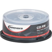 Innovera CD-RW Rewritable Discs, Branded Surface, 700MB/80 Minute, 12x, Silver, 25/Pk