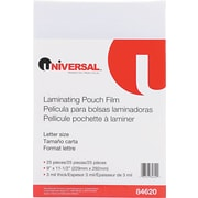 "Universal Clear Laminating Pouches, 3 Mil, 9"" x 11 1/2"", 25/Pk"