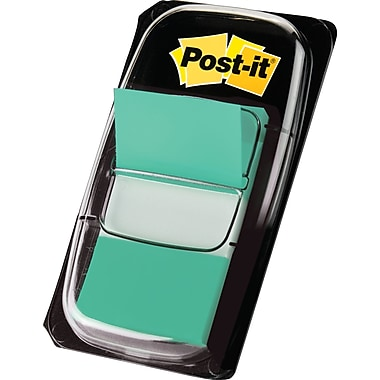 Post-it® 1in. Green Flags with Pop-Up Dispenser, 12/Pack