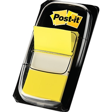 Post-it® 1in. Yellow Flags with Pop-Up Dispenser, 24/Pack