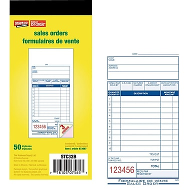Staples® Bilingual Sales Order Form, STC32B, Triplicates, Carbonless, Staple Bound, 3