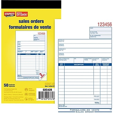 Staples® Sales Order Form, SDC42B, Duplicates, Carbonless, Staple Bound, 4