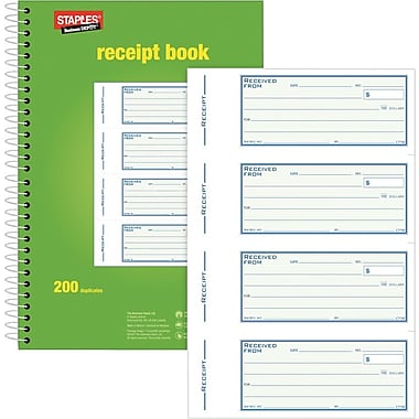 Staples® Bilingual Receipt Book, SDC71SE, Duplicates, Carbonless, Spiral Bound, 7