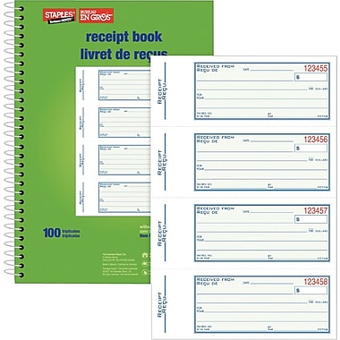 Staples® Bilingual Receipt Book, STC71SB, Triplicates, Carbonless, Spiral Bound, 7