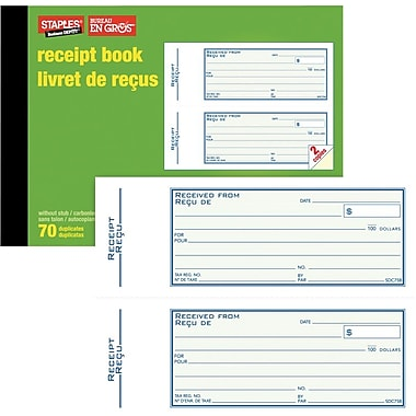Staples® Bilingual Receipt Book, SDC75B, Duplicates, Carbonless, 3