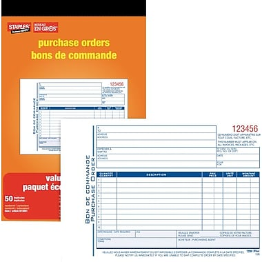 Staples® Bilingual Purchase Order Form, SDC53B-10, Duplicates, Carbonless, Staple Bound, 5-9/16