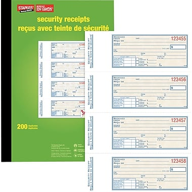 Staples® Bilingual Security Receipt Book, SDCS71B, Duplicates, Carbonless, 7