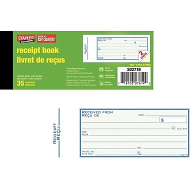 Staples® Bilingual Receipt Book, SD271B, Receipts with Carbon, 2