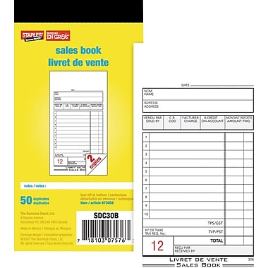 Staples® Bilingual Sales Book, SDC30B, Duplicates, Carbonless, 3