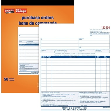 Staples® Bilingual Purchase Order Form, STC83B, Triplicates, Carbonless, Staple Bound, 8