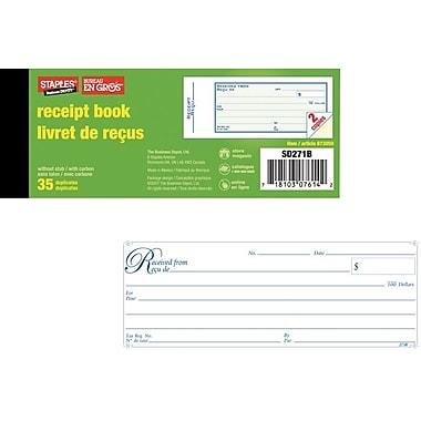 Staples® Bilingual Receipt Book, SDC273B, Duplicates, Carbonless, Staple Bound, 2