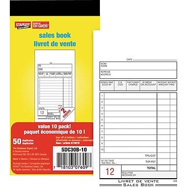 Staples® Bilingual Sales Book, SDC30B-10, Duplicates, Carbonless, 3