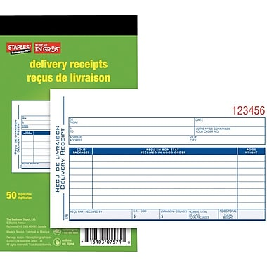 Staples® Delivery Receipt Forms, Carbonless, Duplicate, Bilingual