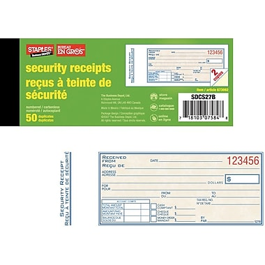 Staples® Bilingual Security Receipt Book, SDCS27B, Duplicates, Carbonless, 2