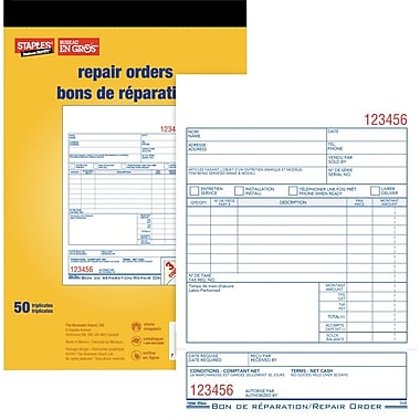 Staples® Repair Order Forms, Carbon Triplicate, Bilingual