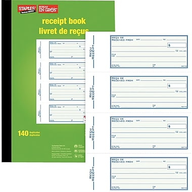 Staples® Bilingual Receipt Book, SDC71B, Duplicates, Carbonless, Staple Bound, 7