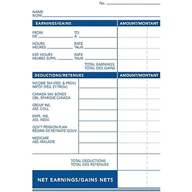 Staples® Statement of Earnings Sheets, Bilingual