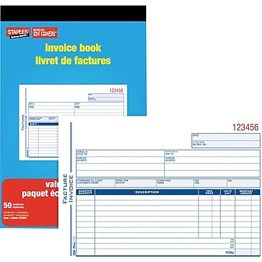Staples® Bilingual Invoice Book, SDC51B-10, Duplicates, Carbonless, Staple Bound, 6