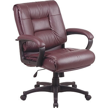 Office Star Leather Executive Mid-Back Chair, Burgundy