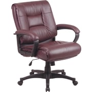 Office Star ProGrid Back Leather Executive Chair, Fixed Arm, Burgundy