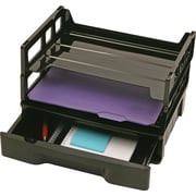 Officemate® Recycled Combination Storage Drawer with Letter Trays, Black