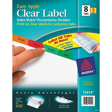 Avery index maker clear label tab dividers 5 tab pastel for Avery easy apply 5 tab template