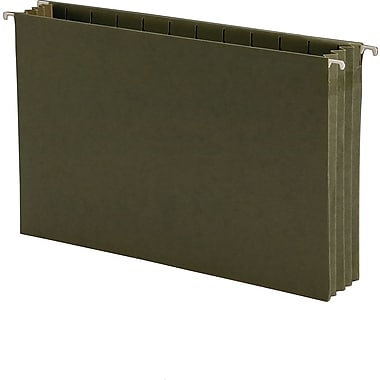 Hanging File Pockets w/Full-Height Gussets, Legal Size, Green, 10/Box