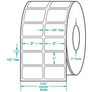 2 x 1 (2 Across) Perfed White Permanent Thermal Transfer Roll Intermec Compatible Label/Ribbon Kit