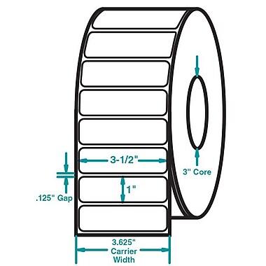 3-1/2 x 1 White Permanent Adhesive Thermal Transfer Roll Sato Compatible Label/Ribbon Kit