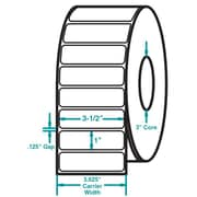 3-1/2 x 1 White Permanent Adhesive Thermal Transfer Roll Zebra Compatible Label/Ribbon Kit
